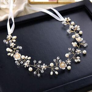 Frauen Perle Blume Kristall Hochzeit Braut Stirnband Krone Haarschmuck SO