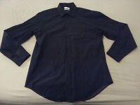Mens Calvin Klein Dress Shirt 17 34 35 XL Black Cotton Long Sleeve