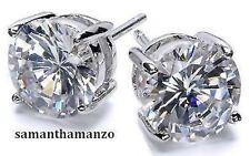 6ct Brilliant Round Cut Cz Cubic Zirconia Ladies Mens Silver Stud Earrings