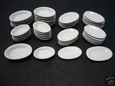 20 Lg Oval Dishs & Bowls White Dollhouse Miniatures Ceramic Dinner