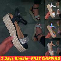 Women's Espadrille Platform Sandals Ladies Rhinestone Ankle Strap Summer Shoes