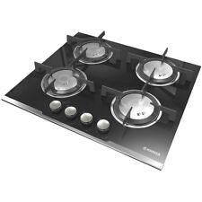 Hoover HGV64SXVB Built In 60cm 4 Burners Gas Hob Stainless Steel / Black Glass