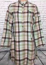 FIRETRAP S Vgc Brown Check Linen Blend Long Sleeve Longline Tunic Shirt Dress