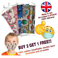 Face Mask Kids Child  Mouth Cover 100% Cotton Handmade UK Reusable Washable