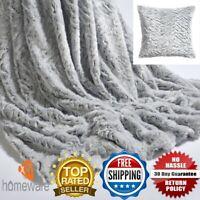 Wolf Throw Neutral Faux Fur Soft Luxury Throw Blanket & Cushion Cover Silver