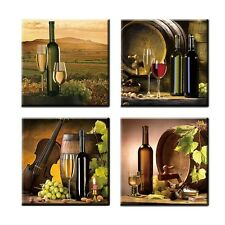 Vintage Grape Bottle Wine Cups Picture Canvas Prints Kitchen Home Wall Art Decor