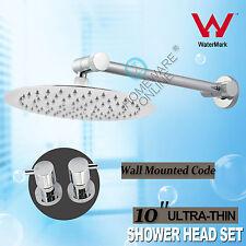 10'' Round Rain Overhead Shower Head & Brass Adjustable Arm Taps Water Saving