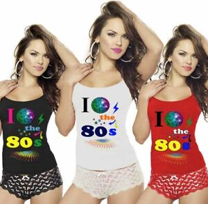 Womens I Love The 80s Printed Vest Ladies Eighties RacerBack Strappy Top Gym Tee