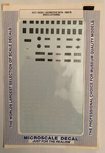 MICROSCALE O DECAL - EMD DIESEL LOCOMOTIVE DATA - 1950-1970 - WHITE LETT #48-37