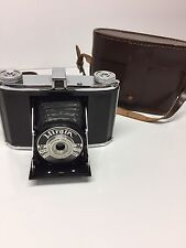 Vintage Voightlander Compact Folding Camera With Brown Leather Case 1950's