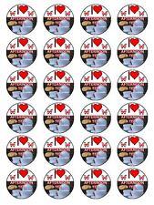 """Me encanta británico Meriendas Cupcake Topper En Papel De Arroz 1.5"""" x24 por juego"""