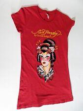 Ed Hardy Designs Geisha Long Tee T Shirt Rusty Red Rhinestones Women Size Small