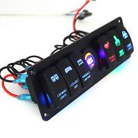 Rocker Switch Panel 6 GANG Circuit Breaker LED Voltmeter RV Car Marine Boat 12V