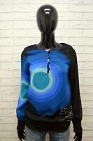 Desigual Donna Taglia XS Maglia Polo Manica Lunga shirt Women Sport Nero Blu