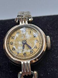 Vintage Omega 9 ct Gold Ladies Watch Working Speidel USA Bracelet  VGC