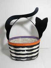 Longaberger 2015 Halloween Cat Basket w/ Protector, Black & White Stripe / New