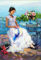 ZWPT655 fashion girl sitting seaside&flower hand painted art oil painting canvas