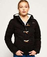 New Womens Superdry Microfibre Toggle Puffer Jacket Black