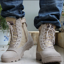 Mens Lace Up Combat Boots Round toe Warm Winter Army Camoflage Shoes Sand US 9