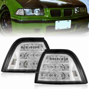 1992-1998 BMW E36 4 Door Clear Lens Chrome Housing LED Corner Signal Light Lamps