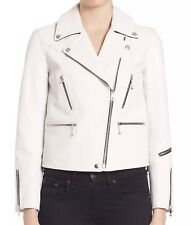 $1295 NWT Rag & Bone Womens Antique White Port Arrow Biker Leather Jacket Size 2