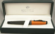 Monteverde Invincia Carbon Fiber & Orange Cap Fountain Pen - New - Fine nib