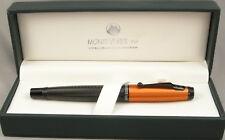 Monteverde Invincia Carbon Fiber & Orange Cap Fountain Pen - New - Medium nib
