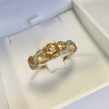 9ct Yellow Gold Citrine & Diamond Four Stone Wrap Beautiful Dress Ring - Size V