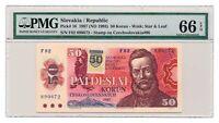 SLOVAKIA banknote 50 Korun 1993 PMG MS 66 Gem Uncirculated grade