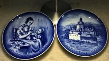 2 Vintage 1970 Bareuther Mother'S & Father'S Day Blue & White 8� Plates Bavaria