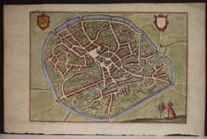 TIENEN BELGIUM 1613 GUICCIARDINI UNUSUAL ANTIQUE COPPER ENGRAVED CITY VIEW