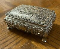Vintage Silver-Tone Footed Jewelry Trinket Casket Box Red Velvet Courting Couple