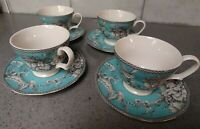 Set Of (4)222 Fifth Adelaide Turquois cups& saucers Birds Flowers French country