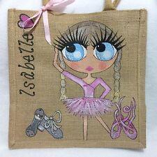 Personalised Handpainted Jute Ballet Dancing Celebrity Handbag Hand Bag Gift