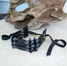 Native American Bone Bracelet Snowflake Obsidian Stones Pow Wow Regalia Cherokee