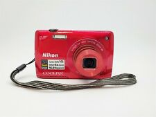 Red Nikon CoolPix S4300 16MP Touch Screen Digital Camera 6x Wide Optical Zoom