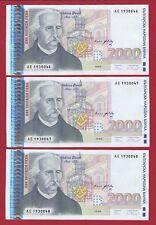 BULGARIA 1996 2000 LEVA LOT OF 3 SEQUENTIAL NUMBERS