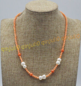 Natural 4mm Round Orange Coral 10x15mm White Baroque Pearl Bead Necklace 16-30''