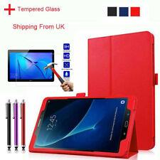 Folio Leather Stand Cover Case+Tempered glass for Samsung Tab A/Lenovo E7 E8 E10