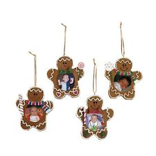 3 Gingerbread Man Picture Frame Christmas Ornaments HOLIDAY GIFT EXCHANGE