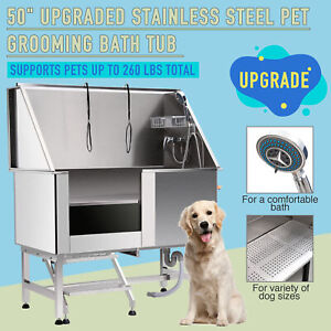 """50"""" Pet Dog Grooming Bath Tub Station Professional 304 Stainless Steel"""