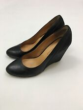 2b3c97d17692 Audrey Brooke Womens Wedge Black Leather Shoes Daphne Size 9