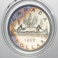 1962 CANADA 1 DOLLAR SILVER WONDERFUL UNC GEM CHOICE BU COLOR TONED (MR)
