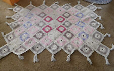 Hand Crochet Lap Blanket Afghan Lap / Sofa Back ThrowDiamond Design with Fringe