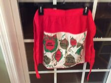 Vintage Merry Christmas Happy New Year Apron Red With Pockets