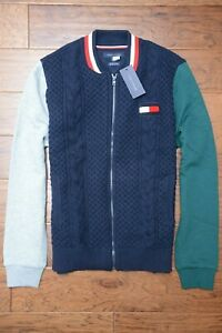 Tommy Hilfiger $120 Mens Cable Knit Navy Wool/Cotton Cardigan Sweater Jacket 2XL