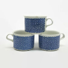 3 Arabia of Finland Faenza Blue Floral Cups