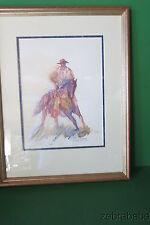 Buck Taylor Original Watercolor Cowboy on Horseback Texas Western Artist