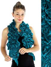 Velvet Knit Ruffle Scarf/Evening Shawl Teal