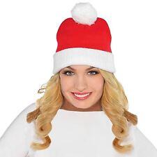 Adult Teens Christmas Santa Knit Ski Cap Bobble Hat Festive Beanie Xmas Knitwear